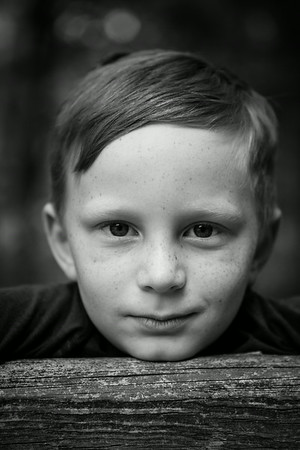 B&W of Kyle sitting on the fencepost. Digital, Trout Pond Recreation Area, West Virginia, Jun 2014.
