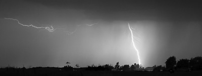 B&W shot of lightning outside of Wheatland, CA.