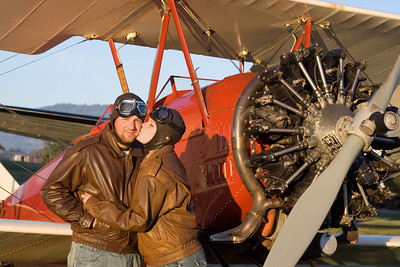 Jaura and I about to take a ride in a biplane over the Oregon coast. (2006)