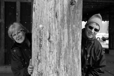 Mom and Dad hugging a tree in Yellowstone! April 2013, taken with Kodak TMax film.