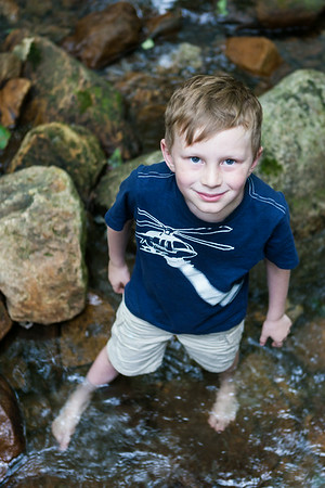 Kyle wanted to walk up the creek....barefoot! See ya dude! Digital, Trout Pond Recreation Area, West Virginia, Jun 2014.